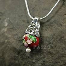 จี้ จี้เงินแท้ ตัวเรือนฝังแมกกาไซต์ ประดับ Murano Beads สีแดง