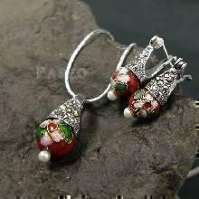 ชุดเครื่องประดับเงินแท้ ต่างหู และ จี้ มูราโน่ Murano Beads ฝังแมกกาไซต์ สีแดง