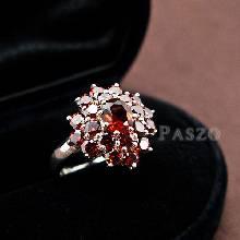 แหวนพลอยโกเมน พลอยสีแดงแก่ก่ำ แหวนเงินแท้ ฝังพลอยโกเมน 2ชั้น
