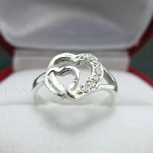 แหวนเพชร แหวนรูปหัวใจ แหวนเงินฝังเพชร