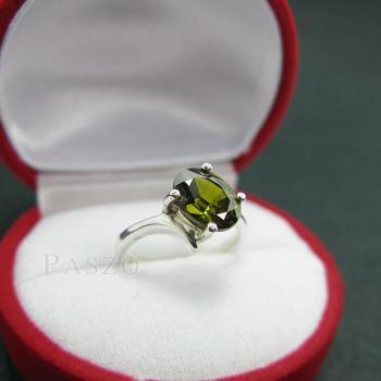 แหวนพลอยเขียวส่อง พลอยสีเขียวมะกอก แหวนเงินแท้ #2