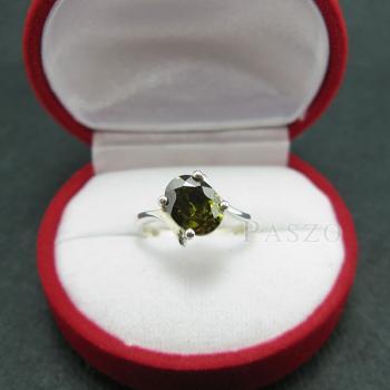 แหวนพลอยเขียวส่อง พลอยสีเขียวมะกอก แหวนเงินแท้ #3
