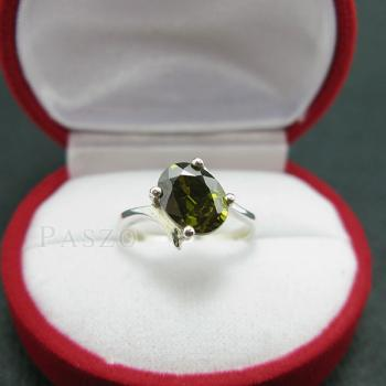 แหวนพลอยเขียวส่อง พลอยสีเขียวมะกอก แหวนเงินแท้ #4