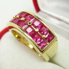 แหวนทับทิม แหวนทอง ฝังพลอยทับทิม พลอยสีแดง แหวนแถว2ชั้น