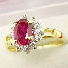 แหวนทับทิม ล้อมเพชร แหวนทองคำ90% ฝังพลอยทับทิม พลอยสีแดง