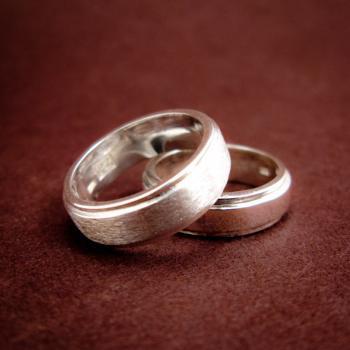 แหวนคู่ แหวนเงินเกลี้ยง ขอบแหวนลดระดับ #3