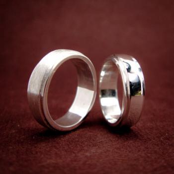 แหวนคู่ แหวนเงินเกลี้ยง ขอบแหวนลดระดับ #5