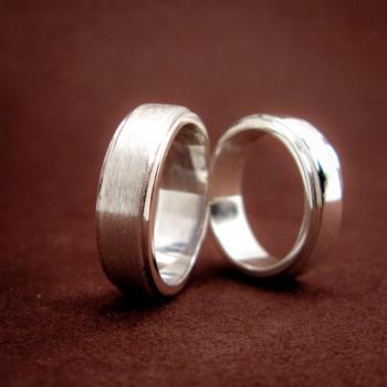 แหวนคู่ แหวนเงินเกลี้ยง ขอบแหวนลดระดับ #6