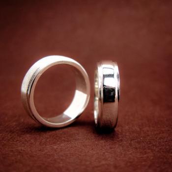แหวนคู่ แหวนเงินเกลี้ยง ขอบแหวนลดระดับ #7