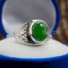 แหวนหยกผู้ชาย แหวนเงินแท้ ฝังหยก แหวนผู้ชาย แกะลายไทย