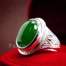 แหวนผู้ชาย แหวนหยก แหวนผู้ชายเงินแท้ แกะลายไทย ฝังหยก แหวนหยกผู้ชาย