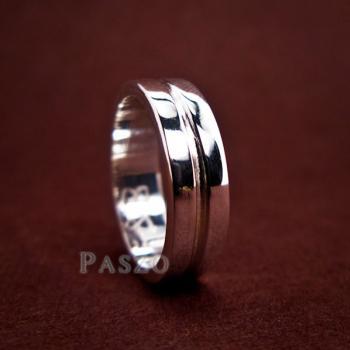 แหวนเซาะร่อง หน้ากว้าง6มิล แหวนเงินแท้ #2