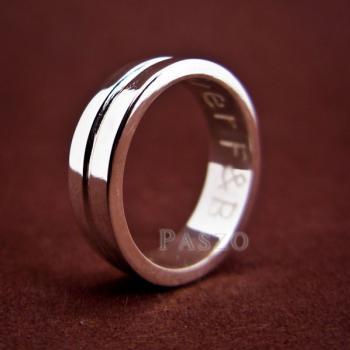 แหวนเซาะร่อง หน้ากว้าง6มิล แหวนเงินแท้ #3