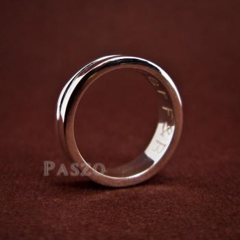 แหวนเซาะร่อง หน้ากว้าง6มิล แหวนเงินแท้ #4