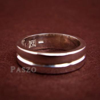 แหวนเซาะร่อง หน้ากว้าง6มิล แหวนเงินแท้ #5