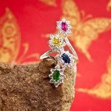 แหวนพลอยแฟนซี แหวนพลอยหลากสี แหวนเงินแท้ 925