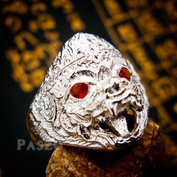 แหวนหนุมาน ฝังโกเมน พลอยสีแดงก่ำ #5