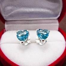 ต่างหูพลอยสีฟ้า ต่างหูรูปหัวใจ พลอยสีฟ้า ต่างหูเงินแท้ ฝังพลอยบูลโทพาส ต่างหูเงิน