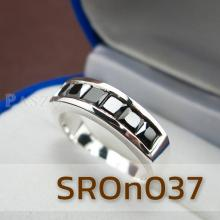 แหวนนิล แหวนเงินแท้ นิลแท้ พลอยสี่เหลี่ยม 6เม็ด แหวนแถว