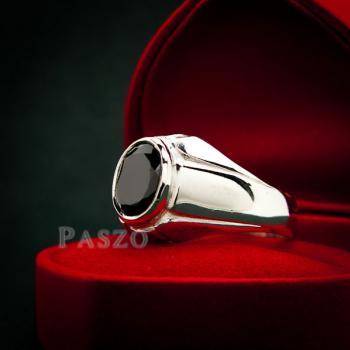 แหวนผู้ชาย แหวนเงินแท้ ฝังนิล #2