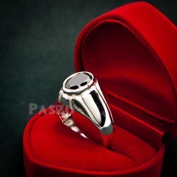 แหวนผู้ชาย แหวนเงินแท้ ฝังนิล #3