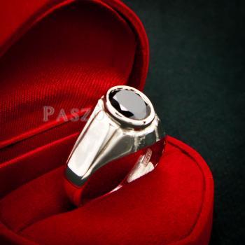 แหวนผู้ชาย แหวนเงินแท้ ฝังนิล #4