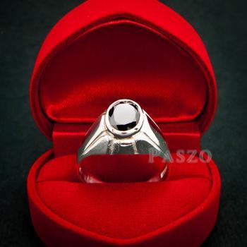 แหวนผู้ชาย แหวนเงินแท้ ฝังนิล #5