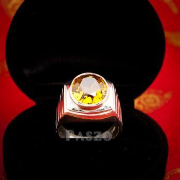 แหวนผู้ชาย แหวนบุษราคัม ฝังพลอยสีเหลือง #2