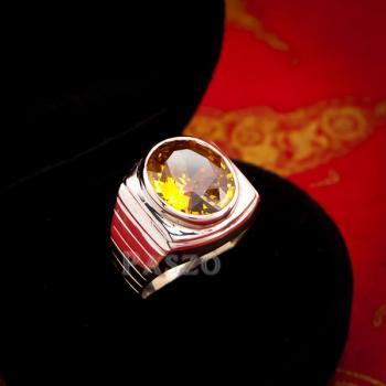 แหวนผู้ชาย แหวนบุษราคัม ฝังพลอยสีเหลือง #3