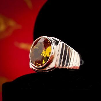 แหวนผู้ชาย แหวนบุษราคัม ฝังพลอยสีเหลือง #4