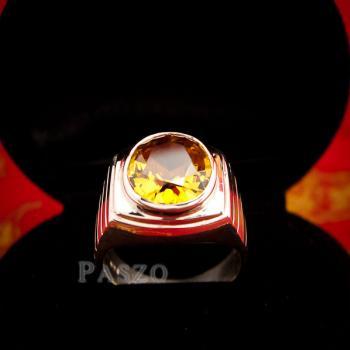 แหวนผู้ชาย แหวนบุษราคัม ฝังพลอยสีเหลือง #6