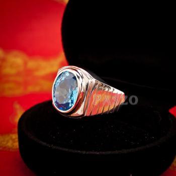 แหวนพลอยบูลโทพาซ แหวนผู้ชายเงินแท้ ฝังพลอยบลูโทพาซ #2