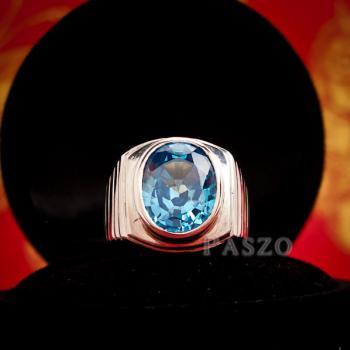 แหวนพลอยบูลโทพาซ แหวนผู้ชายเงินแท้ ฝังพลอยบลูโทพาซ #3