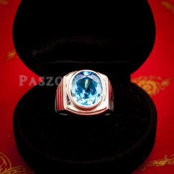 แหวนพลอยบูลโทพาซ แหวนผู้ชายเงินแท้ ฝังพลอยบลูโทพาซ #4