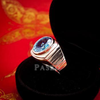 แหวนพลอยบูลโทพาซ แหวนผู้ชายเงินแท้ ฝังพลอยบลูโทพาซ #5