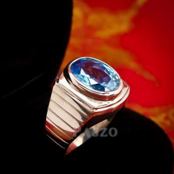 แหวนพลอยบูลโทพาซ แหวนผู้ชายเงินแท้ ฝังพลอยบลูโทพาซ #6
