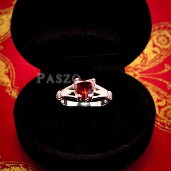 แหวนพลอยโกเมน พลอยรูปหัวใจ แหวนเงินแท้ #2