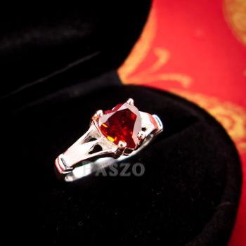 แหวนพลอยโกเมน พลอยรูปหัวใจ แหวนเงินแท้ #3