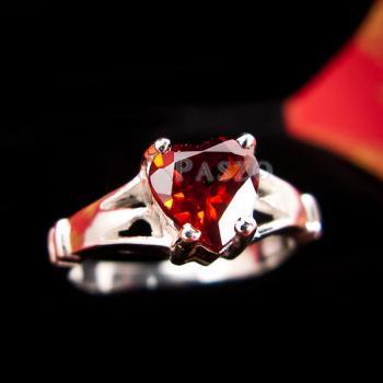 แหวนพลอยโกเมน พลอยรูปหัวใจ แหวนเงินแท้ #4