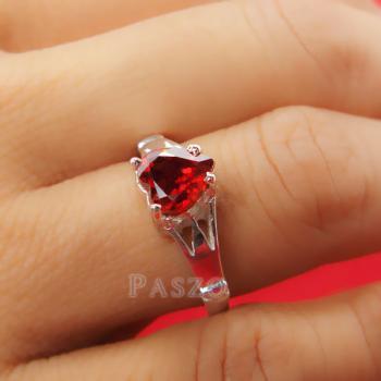 แหวนพลอยโกเมน พลอยรูปหัวใจ แหวนเงินแท้ #5