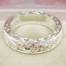 แหวนแกะลายทั้งวง หน้ากว้าง5มิล แกะสลักลายไทย แหวนเงินแท้ แหวนเกลี้ยง