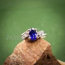 แหวนพลอยสีม่วง แหวนเงินฝังพลอยอะมิทิสต์ ประดับเพชร แหวนเงิน