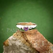 แหวนพลอยสีม่วง แหวนเงินรูปหัวใจ ฝังพลอยอะมิทิสต์ พลอยสีม่วง แหวนเงินแท้