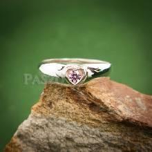 แหวนเงินแท้ กรอบรูปหัวใจ ฝังพลอยสีชมพู แหวนพลอยสีชมพู แหวนพิงค์โทแพซ