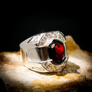 แหวนเงินสำหรับผู้ชาย แหวนพลอยโกเมน สีแดงก่ำ #2