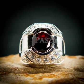 แหวนเงินสำหรับผู้ชาย แหวนพลอยโกเมน สีแดงก่ำ #3