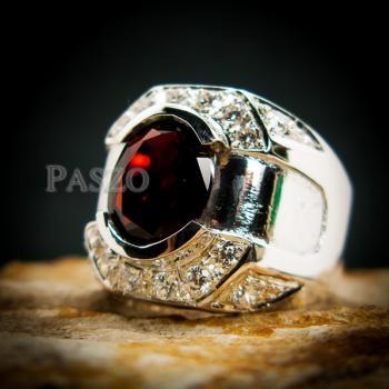 แหวนเงินสำหรับผู้ชาย แหวนพลอยโกเมน สีแดงก่ำ #4