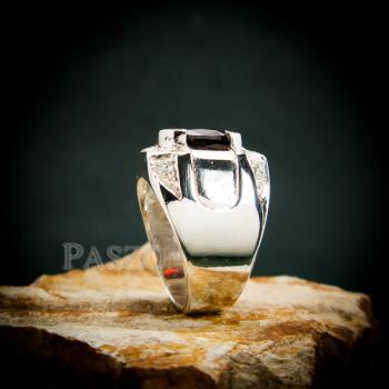 แหวนเงินสำหรับผู้ชาย แหวนพลอยโกเมน สีแดงก่ำ #5
