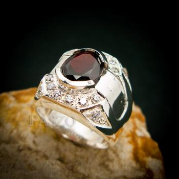 แหวนเงินสำหรับผู้ชาย แหวนพลอยโกเมน สีแดงก่ำ #6
