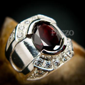 แหวนเงินสำหรับผู้ชาย แหวนพลอยโกเมน สีแดงก่ำ #7
